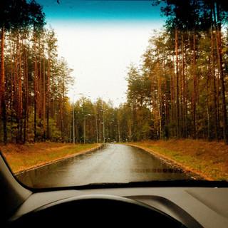 Inside A Car On A Rainy Small Roads